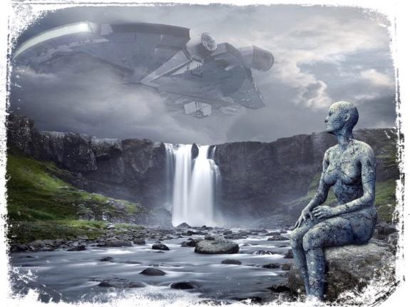 Alienígena e nave espacial em sonho